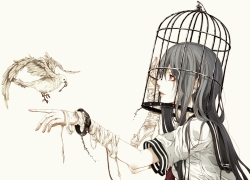 Cage, Solo, Ripped Shirt, Grey Hair, Simple Background, Birds, Bandages