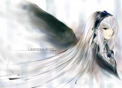 Rozen Maiden, Suigintou, Black-Winged Maiden, Long Hair, Ribbon, White hair, Wings