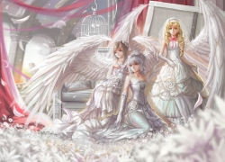 Angels/aliens, White Dress