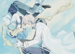 Bag, Belt, Blue Hair, Boots, Crying, DRAMAtical Murder, Floating, Gloves, Jacket, Long Hair, Looking At Another, Male, Red Eyes, Scarf, Aoba Seragaki, Short Hair, Smile, Tears, Watch, White hair, Yellow Eyes