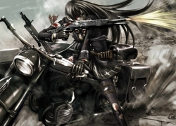 Gun, Weapon, Bike, Misc, Black Hair, Long Hair, Green Eyes, Thigh Highs