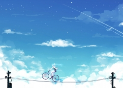 Hatsune Miku, Vocaloid, Bike, Sky, Clouds, Blue Hair, Girl