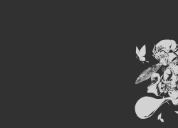 Touhou, Black And White, Butterflies, Wallpaper