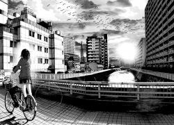 Manga, Wallpaper, City, Couple, Bicycle