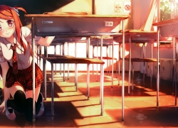 Classroom, Sunset, Orange Hair, School Uniform, Desk