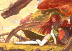 Touhou, Dragon, Red Hair, Green Outfit, Laying Down