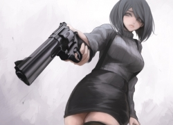 Gun, Weapon, Misc, Black Hair, Short Hair, Thigh Highs, Zettai Ryouiki
