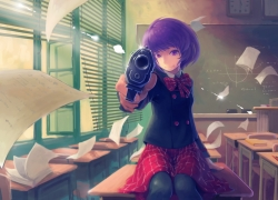 Purple Hair, Uniform, Female, Gun, Purple Eyes
