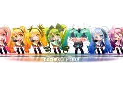 Hatsune Miku, Vocaloid, Red Hair, Simple Background, Orange Hair, Yellow hair, Green Hair, Blue Hair, Purple Hair