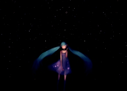 Simple Background, Hatsune Miku, Singing