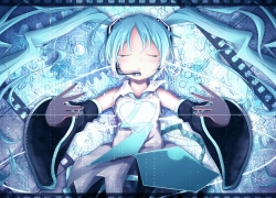 Hatsune Miku, Vocaloid, Closed Eyes, Laying Down
