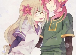 Blush, Closed Eyes, Flower, Glasses, Inazuma Eleven, Inazuma Eleven GO, Kirino Ranmaru, Laughing, Long Hair, Open Mouth, Pink Hair, Smile