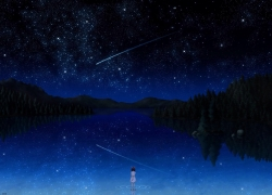Scenery, Stars, Girl, Sky, Night, Space, Shooting Stars, Lake, Lonely