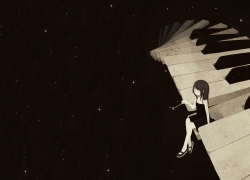 Wallpaper, Piano, Musical Instrument, Black Dress, Night Sky, Girl, Stars