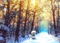 Snowing, Blonde Hair, Kneeling, Scenery, Sunrise, Boulevard Of Trees, Umbrella, Snowman