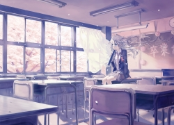 Sad, Girl, School, Classroom, Wallpaper, Winter, Cherry Blossom