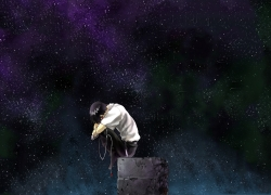 Shinji Ikari, Stars, Night Sky, Sad, Wallpaper