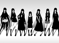 Monochrome, Kaibutsu Oujo, Nurarihyon no Mago, Tsukasa Ayatsuji, Isayama Yomi, Reiri Kamura, Kanoe Yuuko, School Uniforms, Ai Enma, Tasogare Otome X Amnesia, Princess Resurrection, Amagami, Black And White