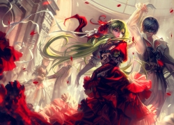 Vocaloid, Abstract, Couple, Red Dress, Blue Hair, Green Hair, Black Dress, Red Ribbon, Rose Petals, Ribbon, Dancing, Cape, Sword