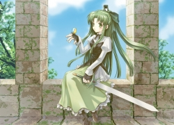 Fia, Riviera: The Promised Land, Sword, Green Hair, Green Eyes, Bird, Girl