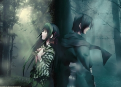 Green Hair, Girl, Couple, Boy, Forest