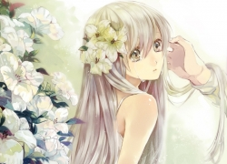 Crying, Girl, Female, Flowers, Long Hair, Solo, White Flower, One Girl, Sad, Bare Shoulders, White hair, Side View, Yellow Flower, Yellow Flowers, Looking At Another, White Background, Hair Flower
