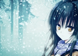 Girl, Snow, Gold Eyes, Female, Solo, Long Hair, Yellow Eyes, Gloomy, Scarf, Black Hair, Winter, One Girl, Trees, Snowing, Looking At The Camera, Looking At Camera, Side View, Blush