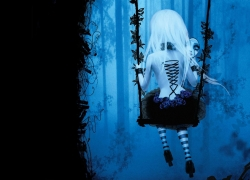 Dark, Swing, Goth, Gothic, Roses, Girl, Long Hair, White hair, Pale, Leggings, Forest, Grim, Ghost, Trees, Paranormal