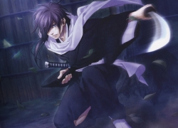 Hakuouki Shinsengumi Kita..., Hakuouki Shinsengumi Kitan, Hajime Saito, Scarf, Sword, Male, Samurai, Japanese Clothes, Purple Hair, Leaves, Purple Eyes