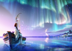 Girl, Water, Lake, Auroras, Harp, Boat, Angel, Moon, Red Rose, Roses, Supermoon, Wallpaper