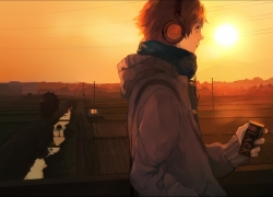 Headphones, Short Hair, Sky, Sunset, Scenery, Landscape, Scarf, Persona 4