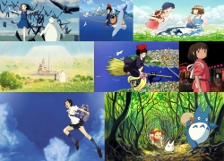 Spirited Away, The Girl Who Leapt Through Time, Wolf Children, The Cat Returns, Kiki's Delivery Service, Studio Ghibli