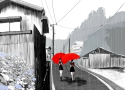 Rain, Girl, Umbrella, Scenery, Wallpaper
