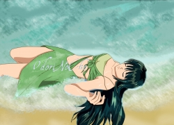 Mermaid Melody: Pichi Pichi Pitch, Mermaid Melody Pichi Pich..., Rina Toin, Girl, Green Hair, Ocean, Long Hair, Solo, Closed Eyes, Female, One Girl, Laying Down, Swimsuit