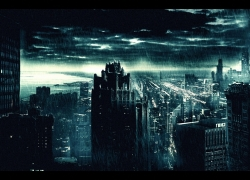 City, Night, Urban, Scenery, Clouds, Skyscraper, Rain, Wallpaper