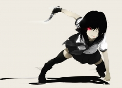 School Uniforms, Black Hair, Red Eyes, Knife