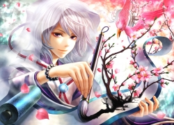 White hair, Smiling, Male, Purple Eyes, Flowers, Paintbrush, Painting, Boy, Solo, Pink Flower, Hood