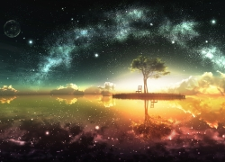Scenic, Scenery, Tree, Space, Stars, Wallpaper