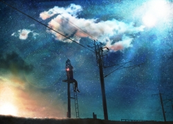 Sky, Night Sky, Wires, Girl, Stars