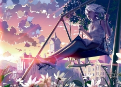 Swing, Sunset, White hair, Short Hair