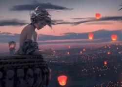 Scenic, Lanterns, Sad, Sunset