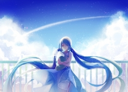 Hatsune Miku (Cosplay), Clouds, Lights, Sunshine, Blue Hair, Long Hair, White Dress, Hat, Blue Dress