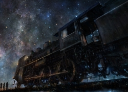 Train, Stars, Night Sky