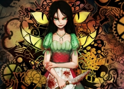 Alice in Wonderland, Alice: Madness Returns, Alice, Bai Yemeng, Black Hair, Blood, Green Eyes, Knife, Long Hair, Necklace, Weapon