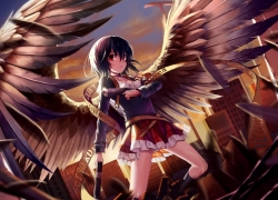 Anime Green, Wings, Girl, Short Hair, Guns, Female