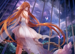 Asuna Yūki, Sword Art Online, White Dress, Wings, Bird Cage, Brown Hair, Clouds, Gamers
