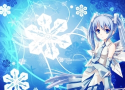 Hatsune Miku, Vocaloid, Snowflakes, Blue Hair, Blue Eyes, Twin Tails, Girl, Solo, Long Hair, Female, Blue Background, Winter, One Girl, Skirt