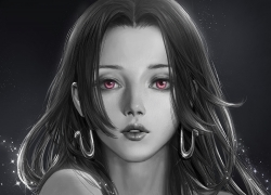 One Piece, Boa Hancock, Realistic, Pink Eyes, Black And White