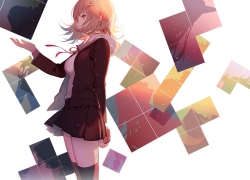 Danganronpa 3: The End of Kibougamine Gakuen - Zetsubou-hen, Chiaki Nanami, Uniform, Tetris, Brown Hair, Brown Eyes, Gamers, Skirt, Danganronpa The Animation, Hoodie, Red Ribbon, One Eye Showing