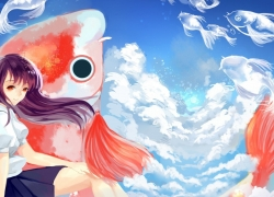 Scenery, Cloud, Girl, Fish, Sky, Wallpaper